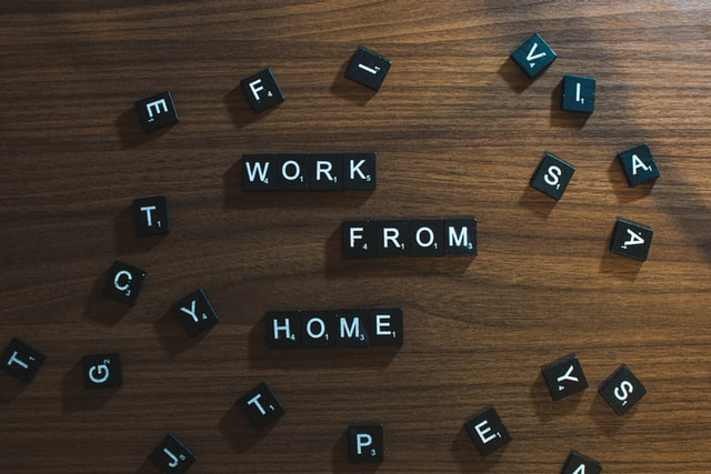 blocks that spell out works from home